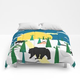 Bears in the forest and an airplane Comforters