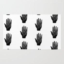 Linocut Hand palm reading minimal black and white palmistry fortune teller Rug