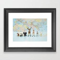 ANIMALS WORLD MAP Framed Art Print