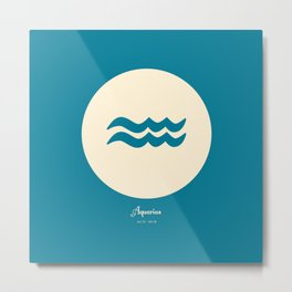 Aquarius Symbol Blue Metal Print