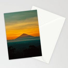 Mountain Volcano In The Distant Green Yellow Orange Sunset Hues Landscape Photography Stationery Cards