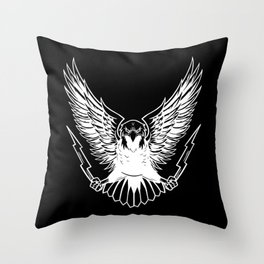 Bald Eagle With Lightnings Throw Pillow