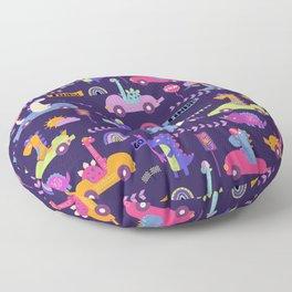 Dinosaur Race Cars Pink Purple Pattern Floor Pillow