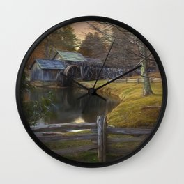Winter Morning At Mabry Mill Wall Clock