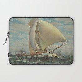 Vintage Painting of a Fast Sloop Sailboat (1895) Laptop Sleeve