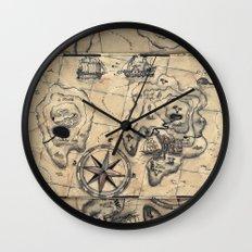 Old Nautical Map Wall Clock