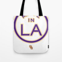 lakers Tote Bags featuring Made in LA - LAKERS by DCMBR - December Creative Group