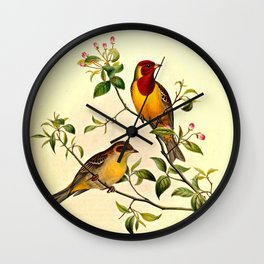 Red-Headed Bunting Wall Clock