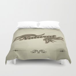 sticker badge with the inscription sheet and Natural. in natural colors Duvet Cover