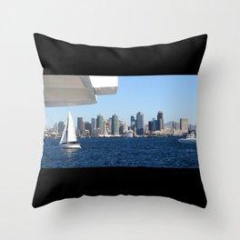 San Diego Skyline and Sailboat Throw Pillow