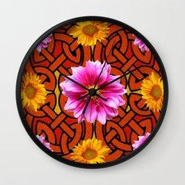 Caramel Brown Celtic Design Yellow Art Purple Dahlias Wall Clock