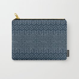 Rustic Geometric - Navy Zigzag Maze Carry-All Pouch