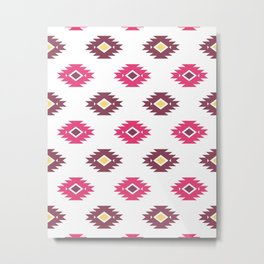Modern Tribal Aztec – White Mulberry Pink and Plum Violet Metal Print