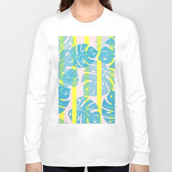 Linocut Monstera Neon Long Sleeve T-shirt