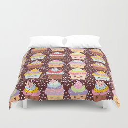 Cupcake Kawaii funny muzzle with pink cheeks and winking eyes Duvet Cover