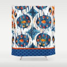 BLUE CIRCLES IKAT Shower Curtain