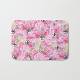 Shocking Pink Flora Gems Bath Mat