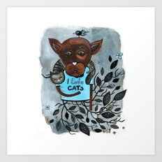 Mr. Boxer is in love with Cats Art Print