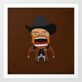 Screaming Walker Texas Ranger Art Print
