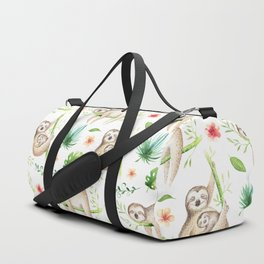 Modern hand painted green brown watercolor tropical floral sloth Duffle Bag