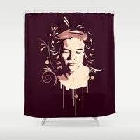 harry styles Shower Curtains featuring Harry Styles - Vector Art by Art of Nanas