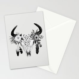 Floral bohemian watercolor animal stag head skull peach pink spiritual boho home wall decor Stationery Cards