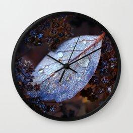 Autumn leaf after rain Wall Clock