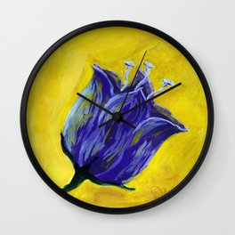 Purple tulip on yellow, acrylic painting Wall Clock