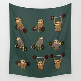 OLYMPIC LIFTING SLOTHS Wall Tapestry