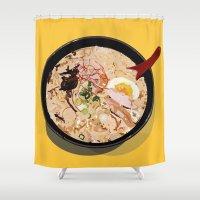 ramen Shower Curtains featuring ITADAKIMASU::RAMEN by Gloria Kum ::Crunchyshimp::