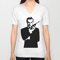 james bond V-neck T-shirts featuring James Bond 007 by Walter Eckland