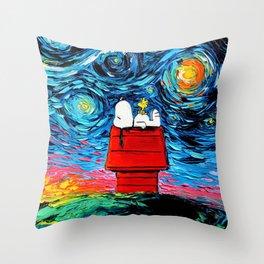 snoopy peanuts starry night Throw Pillow