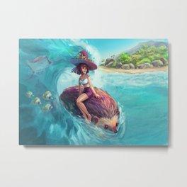 Hedgehog Surfing Metal Print