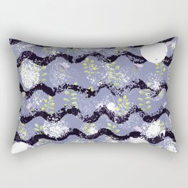 Modern abstract black white lilac floral geometrical Rectangular Pillow