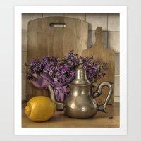 Still Life with Purple Flowers, Ancient Ketlle & Citron Art Print