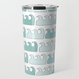 Abstract geometric hand painted teal green waves pattern Travel Mug