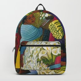 Classical Masterpiece 'The Flower Vendor' by Diego Rivera Backpack