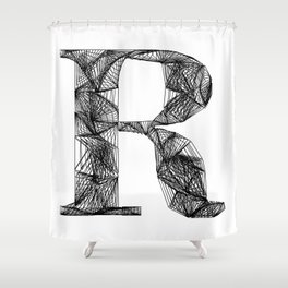 ''City Collection'' - Minimal Letter R Print Shower Curtain
