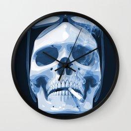 Skull Smoking Cigarette Blue Wall Clock