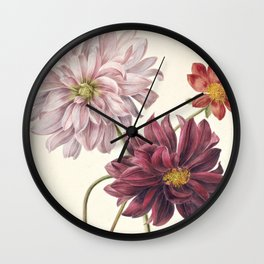Dahila's - Botanical Illustration Wall Clock