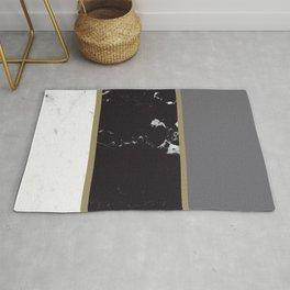 Marble Mix Stripes #1 #black #white #gray #gold #decor #art #society6 Rug