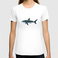 biology T-shirts featuring Carcharodon carcharias  ~ Great White Shark by Amber Marine