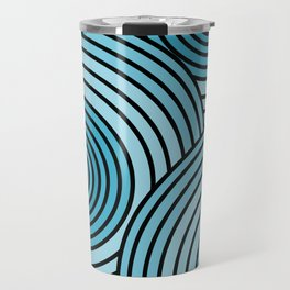 Sea-Blue Circle Pattern Travel Mug
