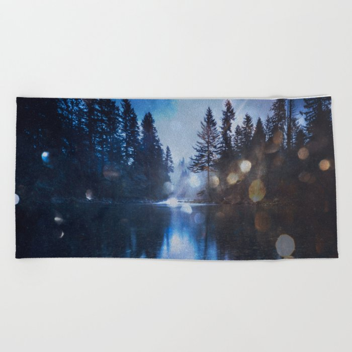Magical Blue Forest Water Reflection - Nature Photography Beach Towel