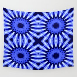 Blue Flowers Mandala Pattern Wall Tapestry
