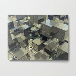 Brown Cubes On Motherboard Metal Print