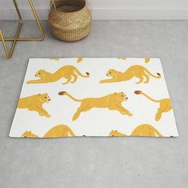 Crouching Lions Pattern Rug