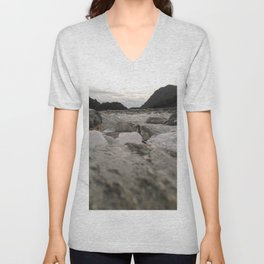 franz josef glacier in new zealand river with ice cubes rough cold Unisex V-Neck