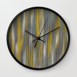 Chartreuse and Grey Woven Textile Design Wall Clock