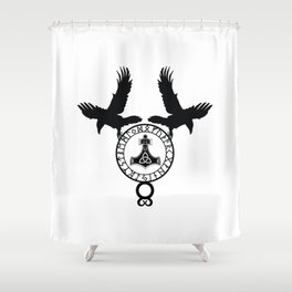 Norse Ravens - Mjolnir Shower Curtain